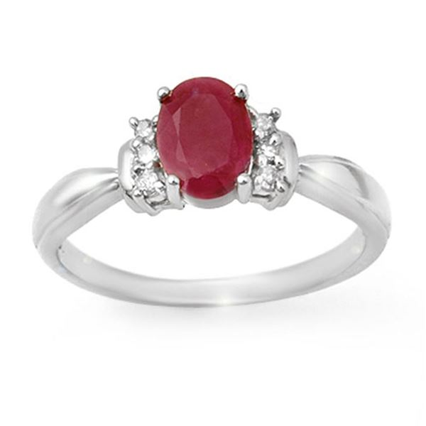 1.35 ctw Ruby & Diamond Ring 18k White Gold - REF-24H3R