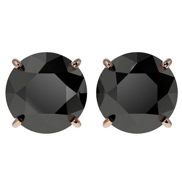 4 ctw Fancy Black Diamond Solitaire Stud Earrings 10k Rose Gold - REF-68F8M