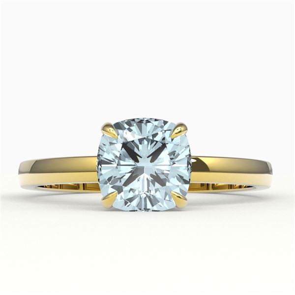 1.50 ctw Cushion Cut Sky Blue Topaz Solitaire Ring 18k Yellow Gold - REF-25R2K