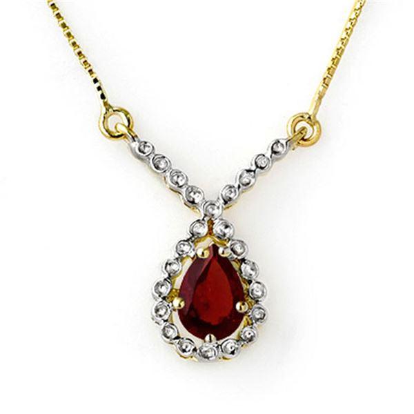 0.90 ctw Garnet Necklace 10k Yellow Gold - REF-13G5W