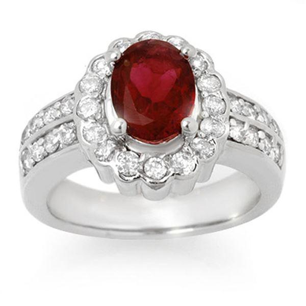 2.25 ctw Rubellite & Diamond Ring 14k White Gold - REF-87Y8X