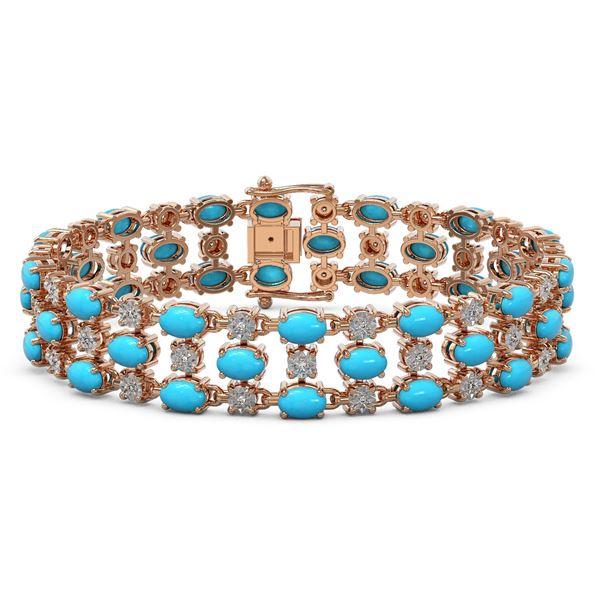 11.86 ctw Turquoise & Diamond Row Bracelet 10K Rose Gold - REF-209K3Y