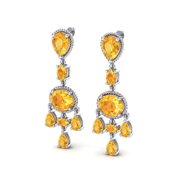 16 ctw Citrine Earrings Designer Vintage 10k White Gold - REF-44M2G