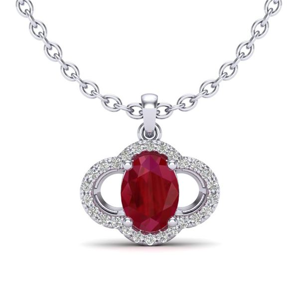 2 ctw Ruby & Micro Pave VS/SI Diamond Certified Necklace 10k White Gold - REF-31N4F