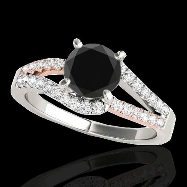 1.4 ctw Certified VS Black Diamond Solitaire Ring 10k 2Tone Gold - REF-52K6Y
