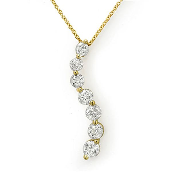 1.0 ctw Certified VS/SI Diamond Necklace 14k Yellow Gold - REF-95R5K