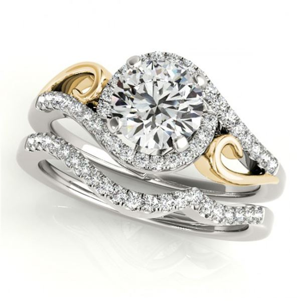 0.95 ctw Certified VS/SI Diamond 2pc Set Solitaire Halo 14k 2Tone Gold - REF-114F5M
