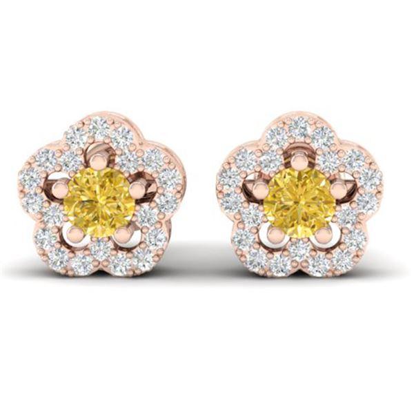 0.65 ctw Citrine & Micro Pave VS/SI Diamond Earrings 10k Rose Gold - REF-25Y3X