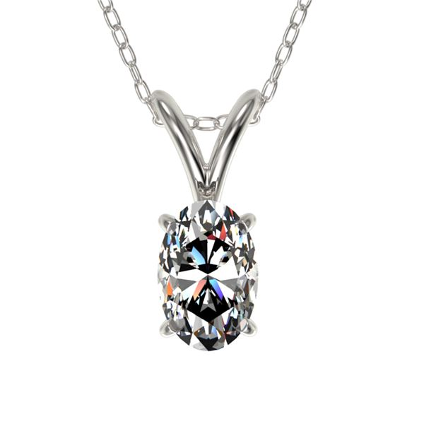 0.50 ctw Certified VS/SI Quality Oval Diamond Necklace 10k White Gold - REF-65X2A