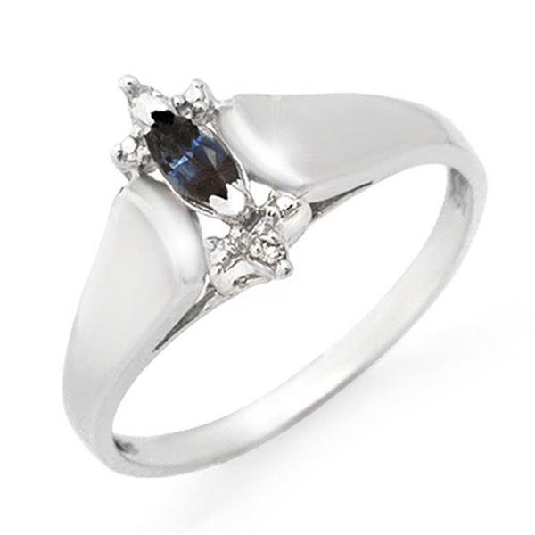 0.33 ctw Blue Sapphire & Diamond Ring 10k White Gold - REF-10F9M