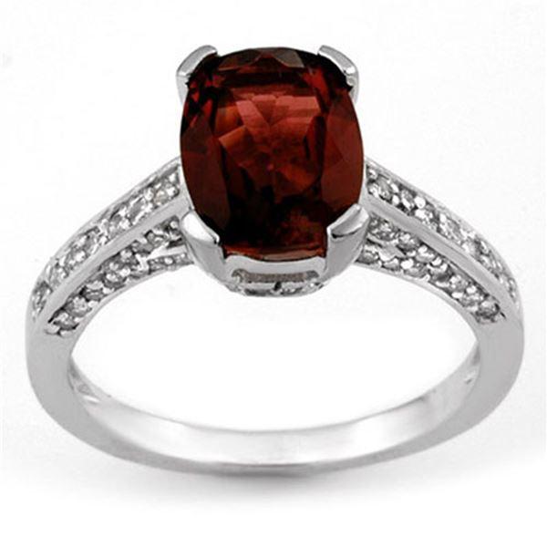 5.50 ctw Pink Tourmaline & Diamond Ring 14k White Gold - REF-82X2A