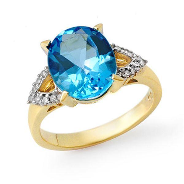 5.30 ctw Blue Topaz & Diamond Ring 10k Yellow Gold - REF-25Y2X