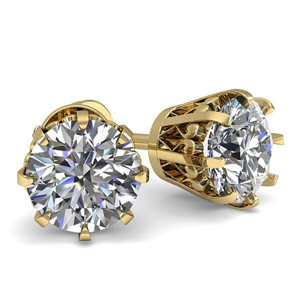 1.03 ctw VS/SI Diamond Stud Solitaire Earrings Vintage 18k Yellow Gold - REF-147M2G