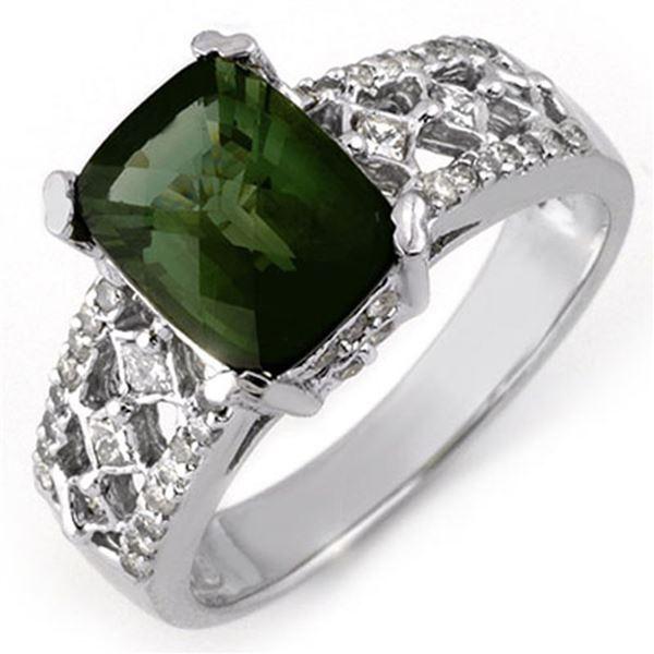 3.0 ctw Green Tourmaline & Diamond Ring 14k White Gold - REF-109F3M