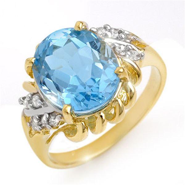 5.22 ctw Blue Topaz & Diamond Ring 10k Yellow Gold - REF-21A8N