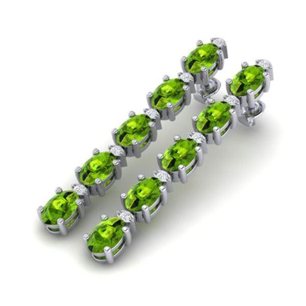 10.36 ctw Peridot & VS/SI Certified Diamond Earrings 10k White Gold - REF-51Y2X