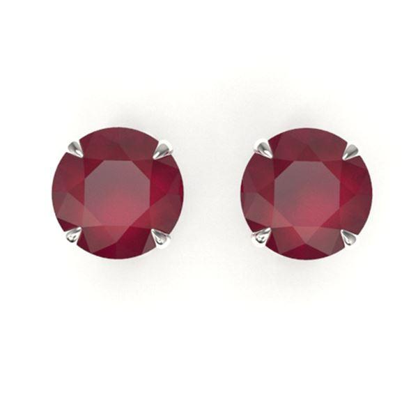 4 ctw Ruby Designer Stud Earrings 18k White Gold - REF-38N2F