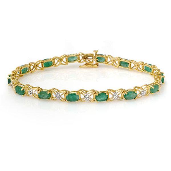 6.85 ctw Emerald & Diamond Bracelet 14k Yellow Gold - REF-109M3G