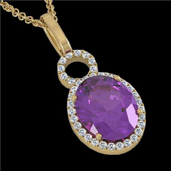 3 ctw Amethyst & Micro Pave VS/SI Diamond Necklace 14k Yellow Gold - REF-33M8G