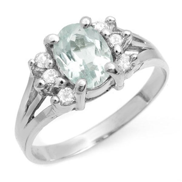 1.43 ctw Aquamarine & Diamond Ring 14k White Gold - REF-38X2A