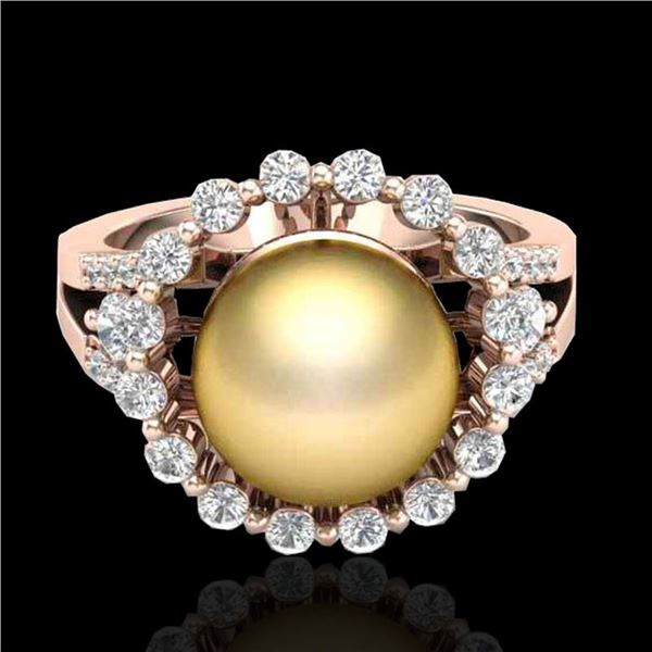 0.83 CT Micro Pave VS/SI Diamond & Golden Pearl Ring 14k Rose Gold - REF-55R5K