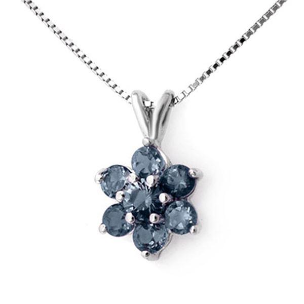 1.10 ctw Blue Sapphire Pendant 18k White Gold - REF-13K5Y