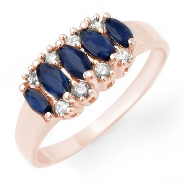 1.02 ctw Blue Sapphire & Diamond Ring 18k Rose Gold - REF-26F6M