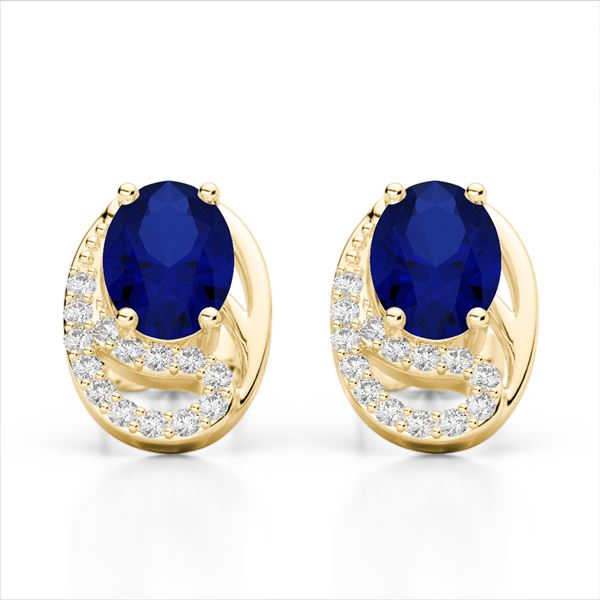 2.50 Sapphire & Micro VS/SI Diamond Stud Earrings 10k Yellow Gold - REF-25N9F