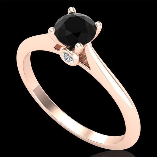 0.56 ctw Fancy Black Diamond Engagment Art Deco Ring 18k Rose Gold - REF-30Y2X