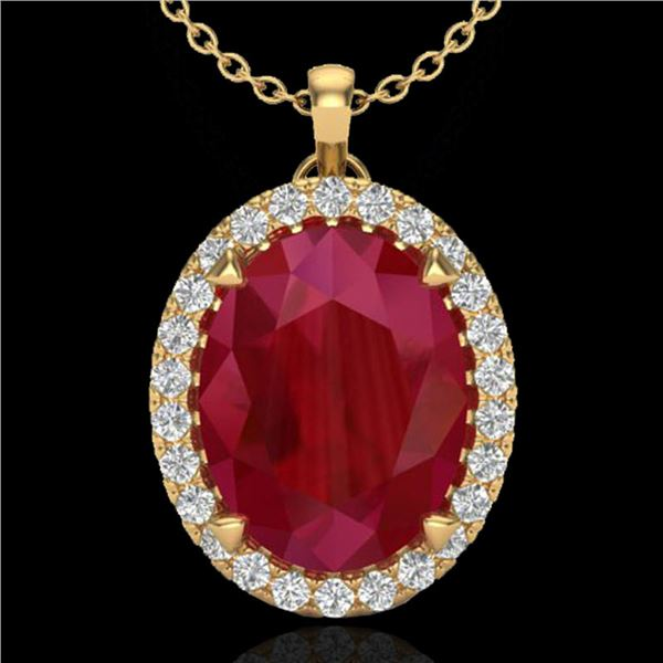 2.75 ctw Ruby & Micro VS/SI Diamond Certified Necklace 18k Yellow Gold - REF-46K5Y