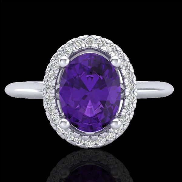 1.75 ctw Amethyst & Micro VS/SI Diamond Ring Halo 18k White Gold - REF-32Y8X