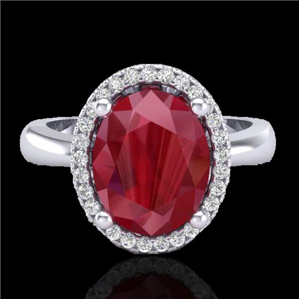 3 ctw Ruby & Micro Pave VS/SI Diamond Certified Ring 18k White Gold - REF-50W3H