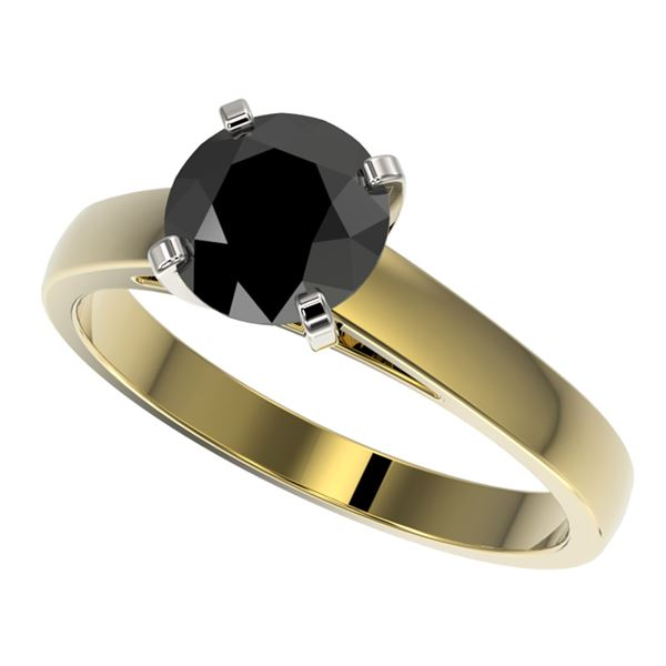 1.50 ctw Fancy Black Diamond Solitaire Engagment Ring 10k Yellow Gold - REF-35R6K