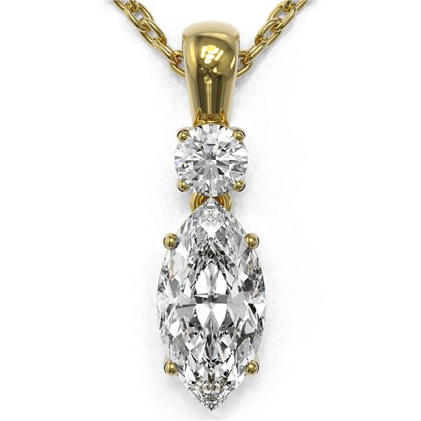 0.9 ctw Marquise Cut Diamond Designer Necklace 18K Yellow Gold - REF-139X2A