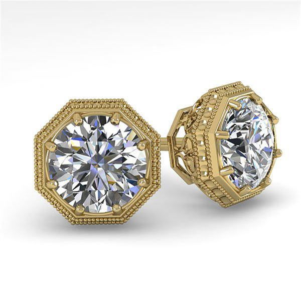 0.51 ctw VS/SI Diamond Stud Solitaire Earrings Art Deco 18k Yellow Gold - REF-54Y3X