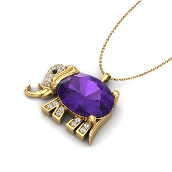 8 ctw Amethyst & Micro Pave Elephant VS/SI Diamond Necklace 10k Yellow Gold - REF-33W3H