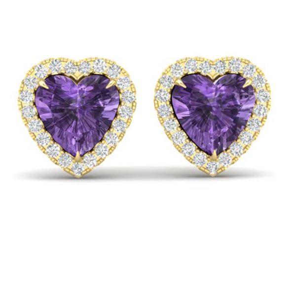 2 ctw Amethyst & Micro Pave VS/SI Diamond Earrings Heart 14k Yellow Gold - REF-38N2F