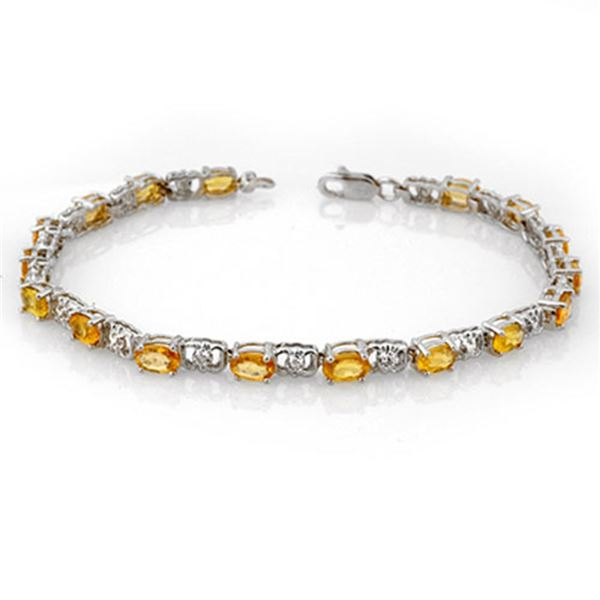 6.02 ctw Yellow Sapphire & Diamond Bracelet 14k White Gold - REF-80H9R