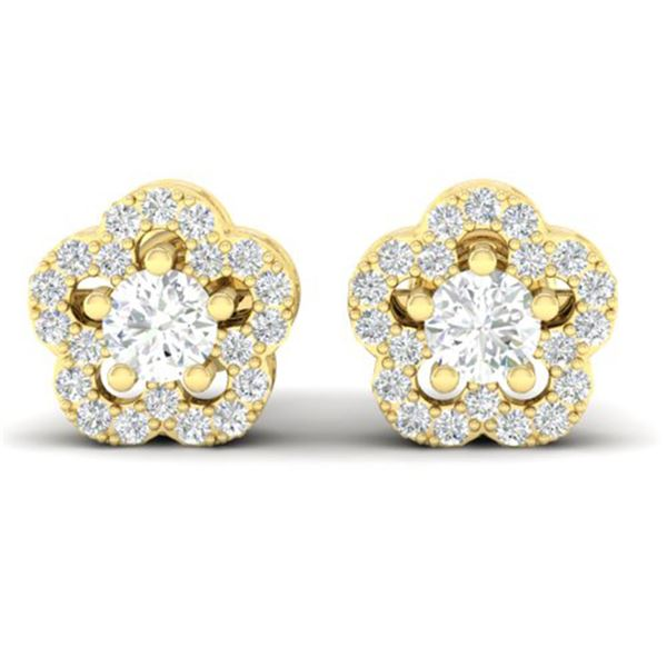 0.50 ctw Micro Pave VS/SI Diamond Certified Earrings 10k Yellow Gold - REF-34M3G