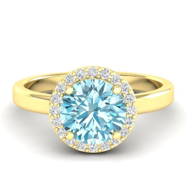 2 ctw Sky Blue Topaz & Halo VS/SI Diamond Micro Ring 18k Yellow Gold - REF-37A6N