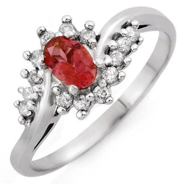 0.50 ctw Pink Tourmaline & Diamond Ring 10k White Gold - REF-20M5G