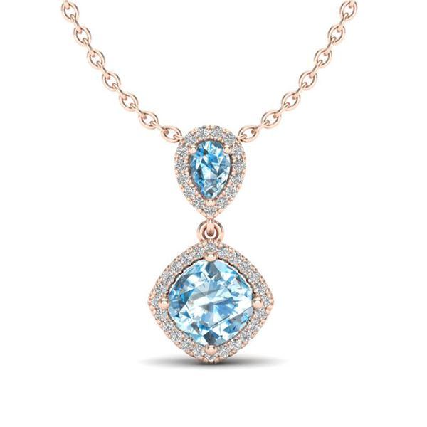 3.50 ctw Sky Blue Topaz & Micro VS/SI Diamond Necklace 10k Rose Gold - REF-33H8R