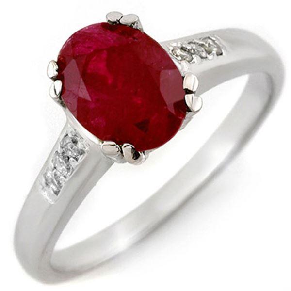 1.60 ctw Ruby & Diamond Ring 10k White Gold - REF-27Y3X