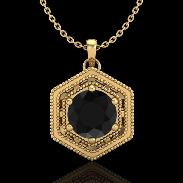 0.76 ctw Fancy Black Diamond Art Deco Stud Necklace 18k Yellow Gold - REF-36A6N