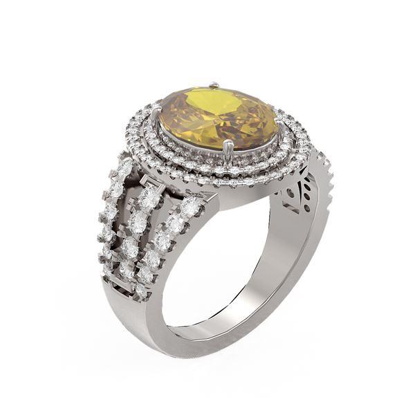 4.89 ctw Canary Citrine & Diamond Ring 18K White Gold - REF-172K4Y