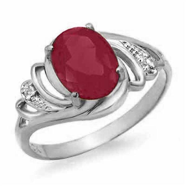 2.25 ctw Ruby & Diamond Ring 18k White Gold - REF-26A2N