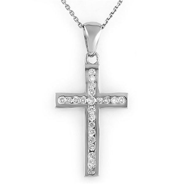 0.50 ctw Certified VS/SI Diamond Necklace 18k White Gold - REF-45A3N