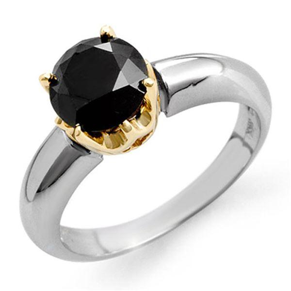 1.75 ctw VS Certified Black Diamond Ring 2-Tone 14k 2-Tone Gold - REF-49M8G