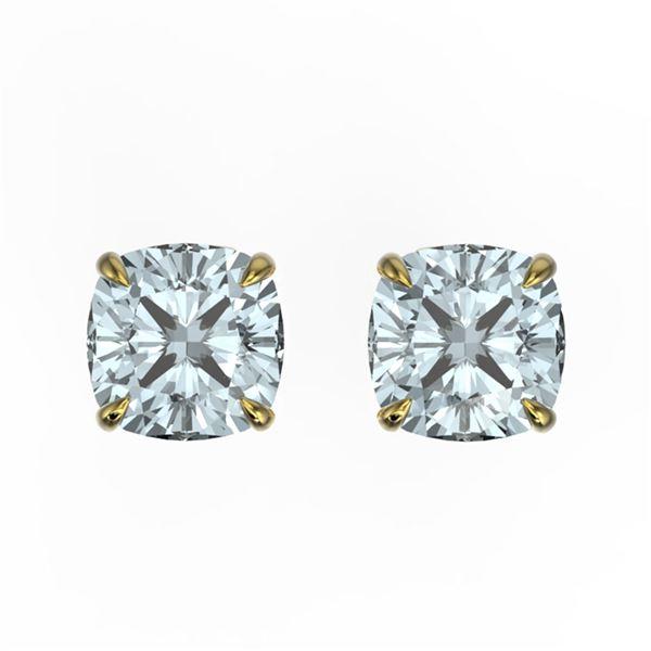 3 ctw Cushion Sky Blue Topaz Designer Stud Earrings 18k Yellow Gold - REF-21K8Y