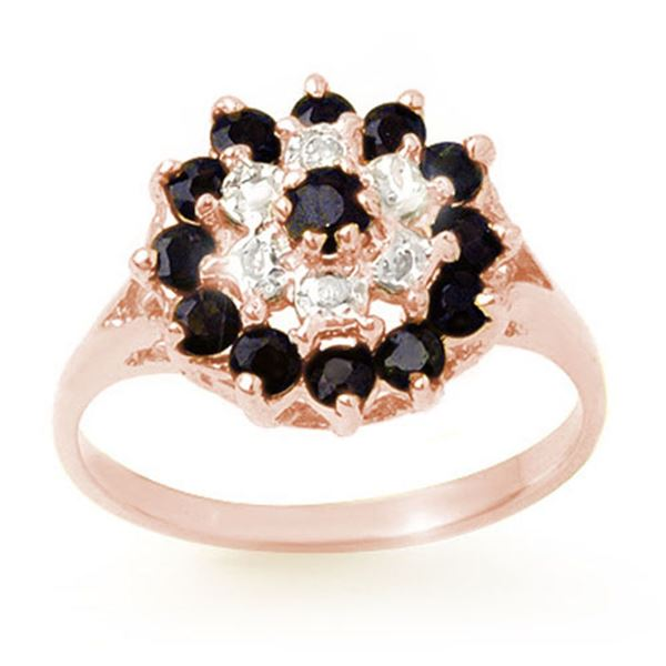 1.02 ctw Blue Sapphire & Diamond Ring 18k Rose Gold - REF-23A6N